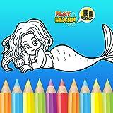 Sirena Juegos para colorear - dibujo libre, pintura y juegos de maquillaje para hacer herm...
