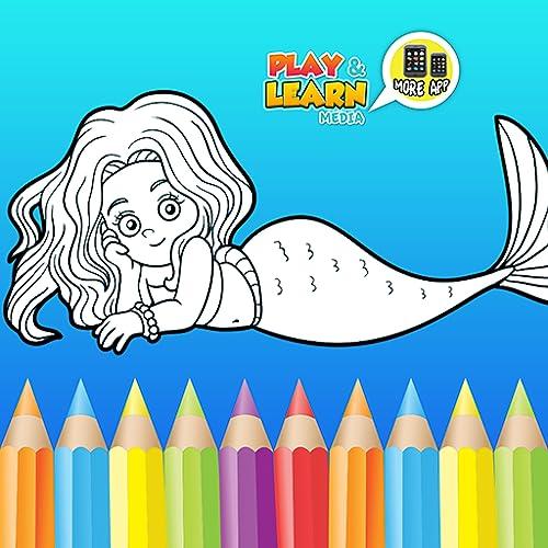 Sirena Juegos para colorear - dibujo libre, pintura y juegos de maquillaje para hacer hermosas sirenas imágenes y estimular la creatividad