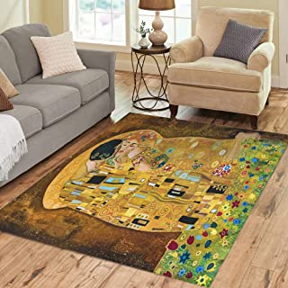 Semtomn Area Rug 5' X 7' Brown Klimt Inspired Abstract Batik Painting Grounds of Gustav Home Decor Collection Floor Rugs Carpet for Living Room Bedroom Dining Room