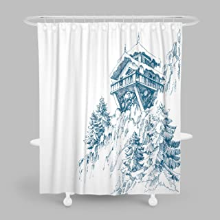 MuaToo Bathroom Shower Curtain,Mountain Hut Pine Tree Forest Winter Landscape Drawing Print Bath Decor Polyester Fabric with Hooks 60 x 72 Inches,White and Blue
