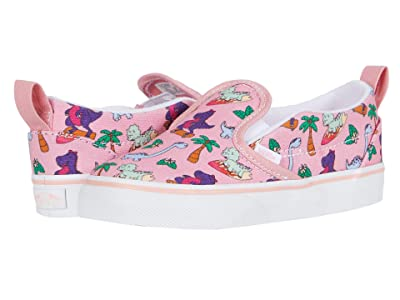 Vans Kids Slip-On V (Infant/Toddler) ((Surf Dinos) Pink Icing/True White) Girls Shoes
