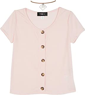 Amy Byer girls Cap Sleeve Faux Button Front Top Blouse