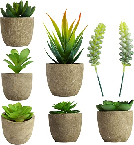 wholesale BENBOR Artificial Plants Potted, 8PCS Mini Artificial Plants high quality online Handcrafted Gray Cement Pots Fake Plants Suitable for Home and Office Decoration outlet sale
