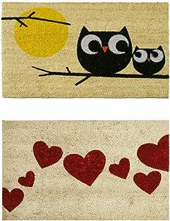 Rubber-Cal Modern Love Themed Coco Coir Door Mats (Set of 2), 18 x 30