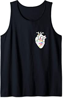 Rainbow Pride LGBT Anatomical Heart in Chest Pocket Tank Top