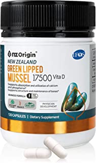 NZ ORIGIN NATURAL OF ZENITH New Zealand Green Lipped Mussel 17500 Vitamin D, 120 Capsules, Bottle, Men, Women,Kids Dietary...