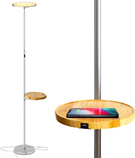 Brightech Sky Ultra LED Floor Lamp- Wireless Charging and Table Top Shelf- Tall Standing Torchiere Lamp with Bright Light- Perfect for Living Room, Bedrooms, Office, Den- Platinum Silver