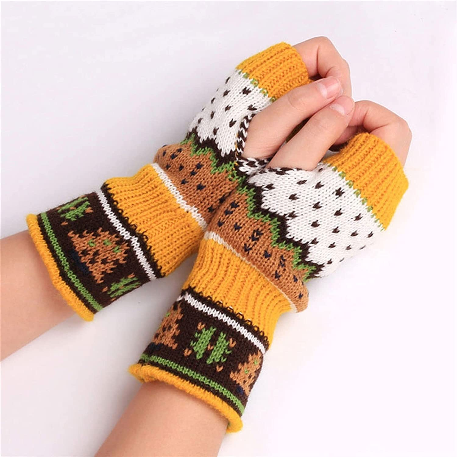 LUBINGT Winter Gloves Fashion Women Arm Warmers Winter Fingerless Gloves Christmas Knitted Mittens Unisex Soft Warm Long Casual Gloves (Color : Yellow, Gloves Size : One Size)