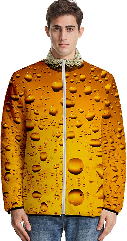URVIP Unisex Oversized 3D Printed Beer Festival Down Jacket Puffer Coat