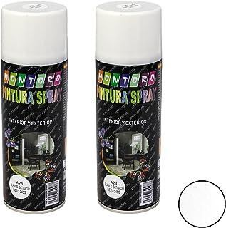 Montoro - Pack de 2 botes de pintura en spray Blanco Satinado A23 400 ml