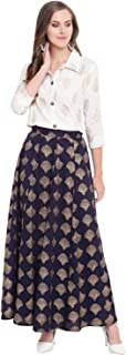 Stylum Women's Gold Printed Rayon Short Shirt & Skirt Set