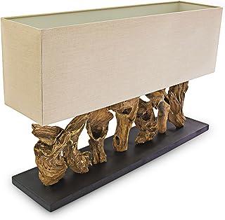 Relaxdays Lampe de table RUTH de bureau Luminaire abat-jour en lin Pied racine de bois 52 x 80 x 20 cm, couleur naturelle