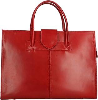 CTM Borsa da Donna a mano Portadocumenti Rosso in Vera Pelle Made in Italy