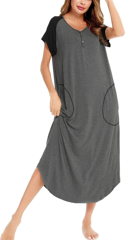 SWOMOG Women Long Nightgowns Short Sleeve Loungwear V Neck Button Down Sleepshirt Raglan Full Length Sleepwear with Pockets