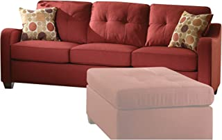Sharon Red Linen Sofa with Pillows Solid Transitional Fabric Foam Wood