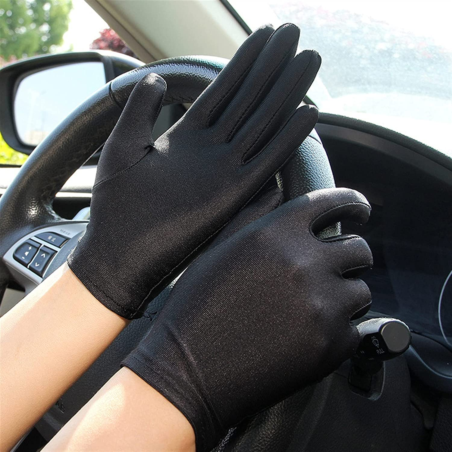 lkpoijuh Summer Gloves Women Men Mittens Sun Protection White Black Thin Short Stretch Gloves (Color : 2, Gloves Size : One Size)