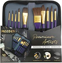 MEEDEN 10 Pcs Paint Brush Set Pony and Nylon Hair Includes a Carrying Case for Watercolor Acrylic Painting
