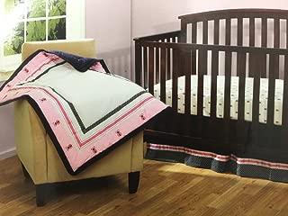 Bananafish Vineyard Collection 3 pc Baby Girl Crib Bedding Set Pink Ladybugs