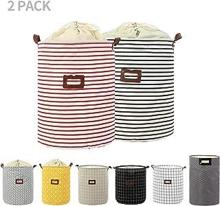 2-Pack Clothes Laundry Hamper Storage Bin Large Collapsible Storage Basket Kids Canvas Laundry Basket for Home Bedroom Nursery Room (PATTERN-05)