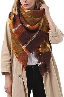 Women's Fall Winter Scarf Classic Tassel Plaid Scarf Warm Tartan Wrap Shawl