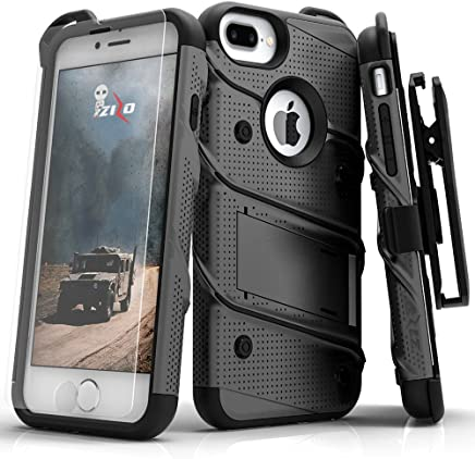 Zizo Bolt Series Compatible with iPhone 8 Plus Case Military Grade Drop Tested Tempered Glass Screen Protector Holster iPhone 7 Plus case Metal Gray