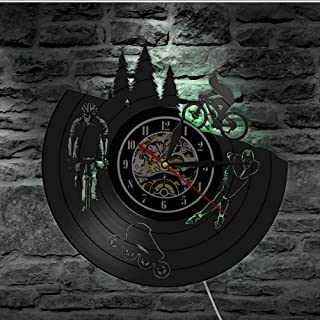 Wall Clocks Skating Biker Cyclist Skater Gramophone Record Wall Clock Dirt Bike Bicycle Black Watch Sport Lover Led Light ...