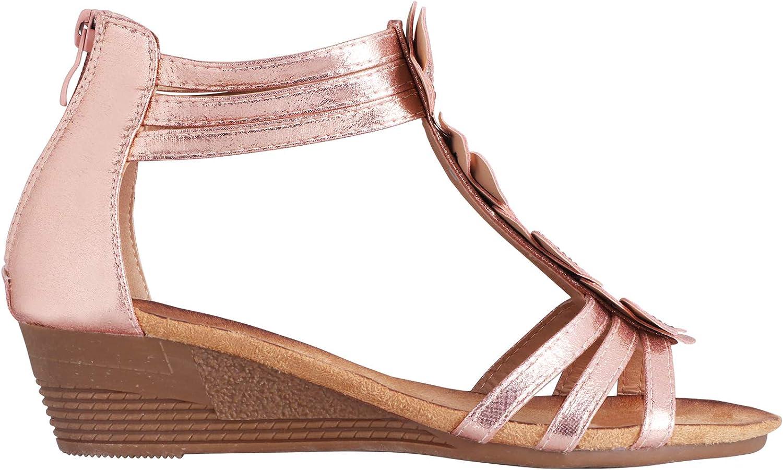 KRISP Women Ladies Low Mid Wedge Heel Open Peep Toe Sandals Girls Summer shoes Beach
