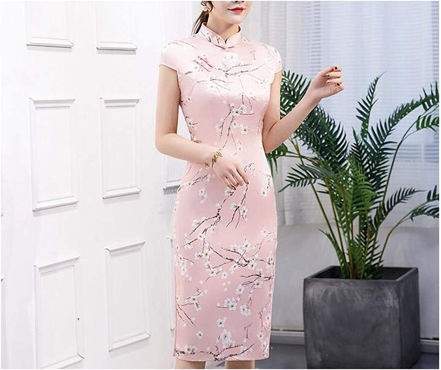 Print Flower Cheongsam Elegant Women Handmade Button Dress Short Sleeve Knee Length Sexy Short Dress