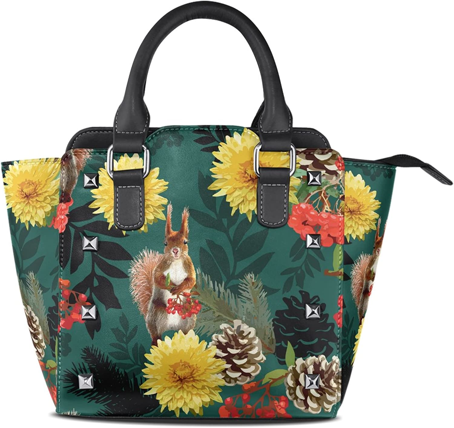 Sunlome Squirrel Flowers and Pine Cone Print Handbags Women's PU Leather Top-Handle Shoulder Bags