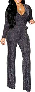 Women's Sexy Sparkly Jumpsuits Clubwear One Piece Deep V...