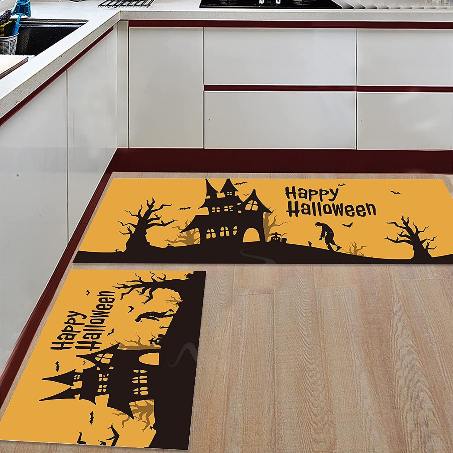 Anmevor Kitchen Rug Sets 2 Attention brand Piece Door Happy Mats Non-Slip Indianapolis Mall Rugs
