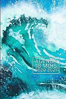 Agenda 18 Mois 2020-2021: Vagues océaniques plage rocheuse - Janvier 2020 - juin 2021 - Planificateur - Calendrier quotidi...