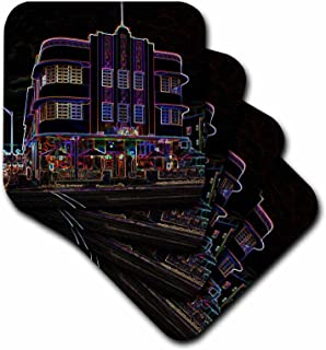 3dRose CST_49279_2 Miami Beach Art Deco in Neon Soft Coasters, Set of 8