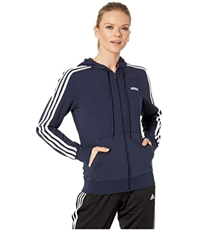 adidas Essential 3-Stripes Full Zip Hoodie (Legend Ink/White) Women