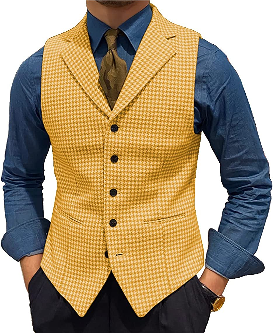 Men's Shipping included Suit Free Shipping Cheap Bargain Gift Vests Leisure Wool Slim Fit Tweed Waistcoat Plaid