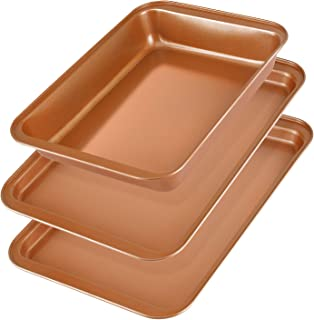 Baking Sheet Pans Cookie Sheet, KeShi Nonstick Cookie Trays, Baking Pan Professional for Oven, Non Toxic & Healthy Prime Bakeware Set 3, Rust Free and Easy Clean, Christmas Gift for Baking (Bronze)