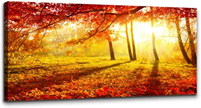 Forest of red Maple Trees sun Landscape Painting Wall Art for Living Room Canvas Prints Artwork wall decor Bedroom Office Works inspiration Mural Art Framed Hotel Home Decor posters mural 20 x 40 inch