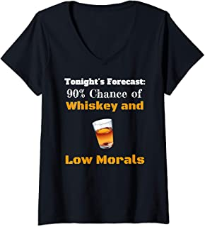 Womens Tonights Forecast Whiskey Low Morals Happy Hour Vacation V-Neck T-Shirt