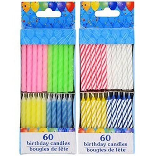 120 Spiral Birthday Candles 60 Pastel And Brights