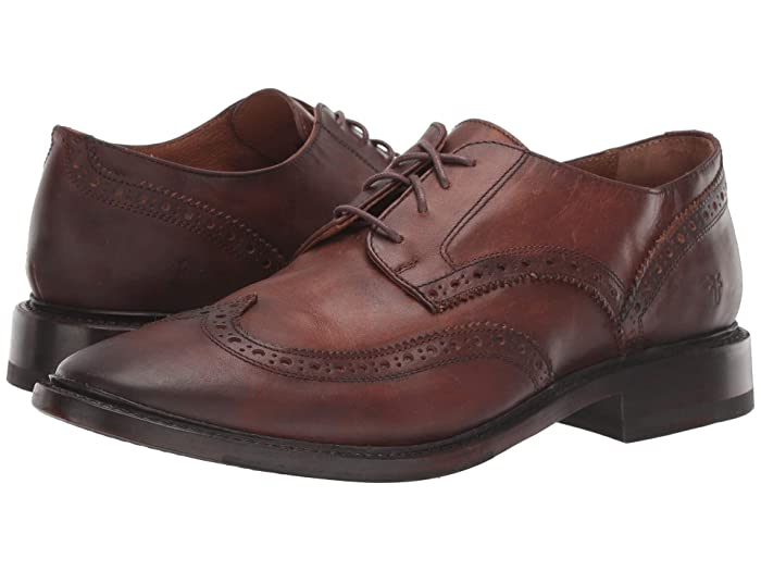 1950s Mens Shoes: Saddle Shoes, Boots, Greaser, Rockabilly Frye Paul Wingtip Cognac Antique Pull Up Mens Shoes $166.28 AT vintagedancer.com