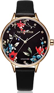 Women Floral Watch Flower Face Genuine Leather Strap Watches for Ladies