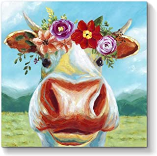 Abstract Animal Wall Art Picture: Cow Artwork Painting on Canvas for Bathroom (24'' x 24'' x 1 Panel)