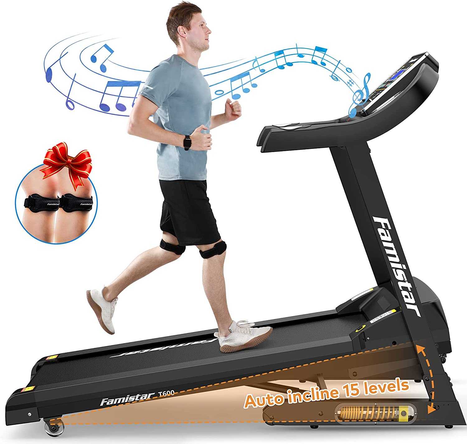 Famistar Treadmill New item Cash special price with 15% Auto Shock-A Incline Home for Smart