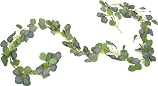 Branch & Cone Eucalyptus Garland 7.8ft Long Artificial Greenery Vine with Frost Green Leaves for a Wedding, Party and Décor