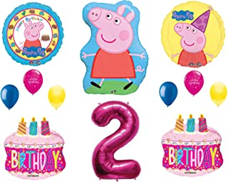 Peppa Balloons 2nd Happy Birthday Party Decorations Supplies