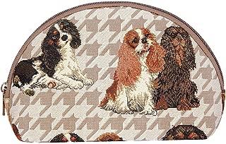 Signare Tapestry Makeup Bag Travel Cosmetic Bag Brush Bag for Women Girls in King Charles Spaniel Design (COSM-KGCS)