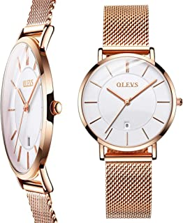 OLEVS Ultra Thin Watches for Women Waterproof Fashion Rose Gold Watch Analog Quartz Stainless Steel Mesh Band Simple Casual Date Ladies Wrist Watches