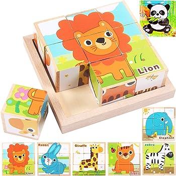 Jiudam キューブパズル 子供 木製 知育玩具 セット 男の子 女の子 誕生日のプレゼント 人気 モンテッソーリ 教育 ブロック 積み木 おもちゃ 9コマ 立体パズル