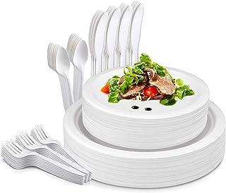 TOROTON 125Pcs Disposable Dinnerware Set, 25 Set Compostable Sugarcane Fibers Tableware, Biodegradable Dinner Paper Plate...