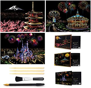 Taj Mahal Magic Rainbow Scrape Painting Paper with Drawing Stick,Satrwak Scratch Off Craft Kits for City Night Scene /& World Historical Sites,Kids Adults Art Educational Stress Relief Toys